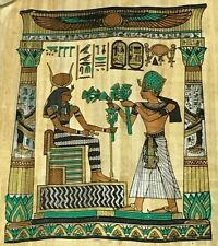 VINTAGE EGYPTIAN PAPYRUS SCROLL KING RAMSES II GIVING LOTUS FLOWERS AUTHENTIC