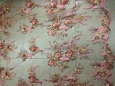 FLORAL EMBROIDERY LACE FABRIC/1yd*1.48yd/3D sequins/dusty pink mesh/