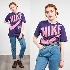 WOMENS VINTAGE NIKE PURPLE CREW NECK SHORT SLEEVE T-SHIRT TOP RETRO SPORTS 10 12