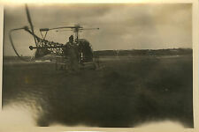 PHOTO ANCIENNE - VINTAGE SNAPSHOT - MILITAIRE HELICOPTERE ALOUETTE AVIATION