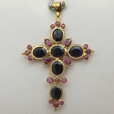 NEW 18K Yellow Gold 4ctw Sapphire Ruby Cross Pendant 1.8gr