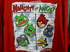 Boy shirt S 6/7, Christmas ANGRY BIRD Red shirt, Naughty or Angry, long sleeve
