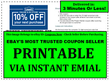 (5x) (Five) Lowes 10% off PRINTABLE-Coupons - Valid for In-Store use or Online