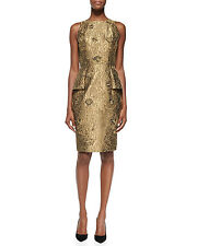 CARMEN MARC VALVO Gold Dress Peplum Embroidered Wedding Evening Size: 6