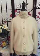 VTG 80s SHELTON NY Paris Tokyo Wom L Angora Rabbit Hair Ivory Cardigan Sweater