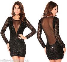 Sexy Minikleid Kleid Abendkleid Festkleid Spitze Pailletten Tüll Schwarz 40 42