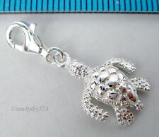 1x STERLING SILVER TURTLE CHARM PENDANT EUROPEAN LOBSTER CLIP ON CHARM #1855