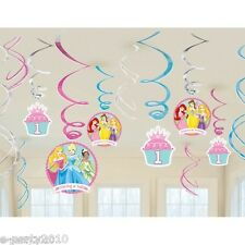DISNEY PRINCESS 1st BIRTHDAY HANGING SWIRL DECORATIONS (12pc) ~ Party Supplies