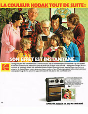 PUBLICITE ADVERTISING 054  1978  KODAK  appareil photo EK 100 INSTANTANE