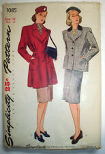 1940's women's belted or button suit jacket skirt pattern 1085 size 14