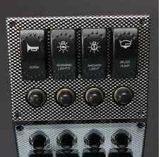 4 Gang LED Rocker Switch Panel & Circuit Breakers - Car/Boat/Waterproof/Marine
