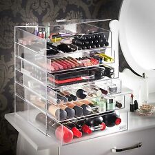 Beautify 6 Tier Clear Acrylic Cosmetic Makeup Cube Organiser With 5 Drawers
