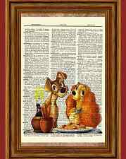 Lady and the Tramp Dictionary Art Print Poster Picture Book Disney Speghetti