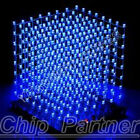 3D LightSquared DIY Kit 8x8x8 3mm LED Cube White LED Blue Ray Brand New DE