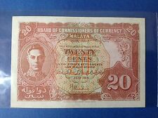 XT $ 0.2 1941 MALAYA & BRITISH BORNEO 20 CENTS *RARE NOTE *EF