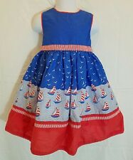 JoJo Maman Bebe Toddler Girls 2 3 Years Nautical Sailboat Summer Dress