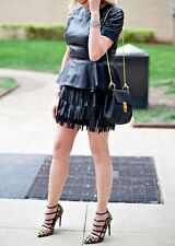 ZARA WOMENS BLACK REAL LEATHER FRINGED TASSEL SKIRT *SIZE L /UK 12* REF:7226/025