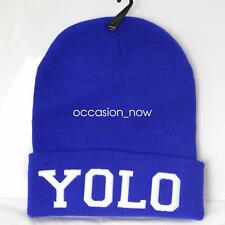 UNISEX MENS WOMANS KNIT KNITTED BEANIE RETRO COOL YOLO BLUE
