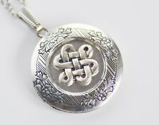 Celtic Knot Antique Silver plated Picture Photo Locket Necklace L103