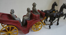 Vintage Cast Iron Toy Red Stanley Wagon with Lady's & Black Horses