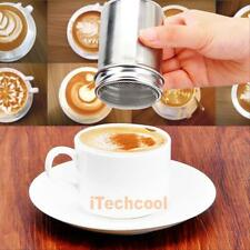 Barista Cappuccino Coffee Stencils Stainless Steel Chocolate Shaker Dustfter Lid