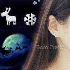 Alloy Christmas Snowflake Deer Pattern Ear Studs Earrings Jewelery Gift