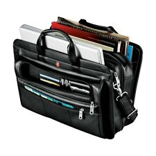 "Wenger Leather Double Compartment 15"" Laptop / Macbook Business Attache Bag -New"