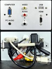 AV Aluminium Wall Plate, VGA+HDMI+Audio Jack+USB2 A + 3 x Phono Sockets to Tails