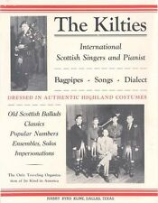 C 1940 ADV FLYER POSTER THE KILTIES BAGPIPES SCOTTISH SINGERS & PIANIST BAGPIPES