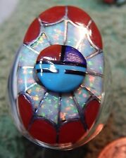 Mens Sunface God Sterling Coral Turquoise Opal Inlay Ring Quandelacy Size 11 1/4