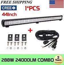 44'' 288W CREE LED Light Bar Flood Spot Combo Work Offroad Driving lights+Wiring