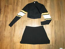 Black Gold Cheerleader Uniform Cheer Outfit Costume Crop Top Skirt 34/28 Sexy