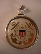 USCG US COAST GUARD LOGO YOUR STATE QUARTER STERLING SILVER BEZEL w/ BAIL NEW
