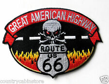 Route 66 Great American Highway Biker Embroidered Patch 3 1/2 inches