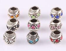 10pcs mix LAMPWORK CZ big hole spacer beads fit Charm European Bracelet #E574