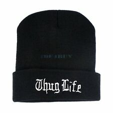 Thug Life Cuffed Women Men Unisex Warm Winter Knitted Hat Skull Beanie Hiphop