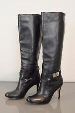 COACH Sz 6 $398 Black Calf Leather Briana Boot Strap Detail Silver Custom Logo