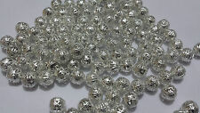 50 x Silver Plated Metal Filigree Round Ball Spacer Beads 10mm Jewellery Making