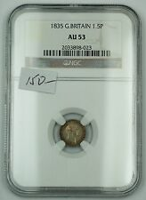1835 Great Britain One and a Half Penny 1.5P Silver Coin Ngc Au-53 Akr