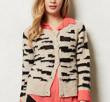 Nip Anthropologie Zebra Stripe Chunky Cardigan Sweater Jacket M Sleeping on Snow