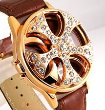 Gents Mens Brown Leather Gold Rapper Spin Ice Pimp Bling Crystal Gangster Watch