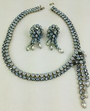 Vtg 50s Fred A Block blue sappharine moonstone necklace earrings demi parure