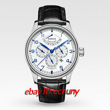 Parnis 43mm power reserve white dial miyota 9100 Automatic mens Watch 2125