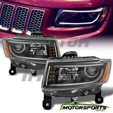 [LED Bar] 2014 2015 Jeep Grand Cherokee LED Projector Black Headlights Pair