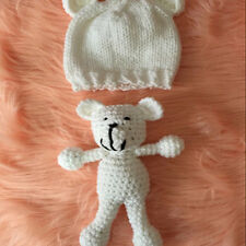 Newborn Cute Photography Prop Photo Crochet Bear and Hat Set Studio Booth Props
