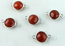 Charms, Faceted Carnelian 925 sterling silver bezel connector 5 Pcs