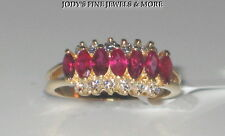 SENSATIONAL ESTATE 14K YELLOW GOLD MARQUISE RED RUBY & DIAMOND RING BAND Sz 4.25