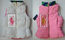 NWT Ralph Lauren Girls Reversible Down Filled Puffer Vest Size 6