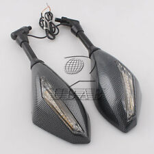 Motorcycle scooter Carbon LED Turn Signal Light Rearview Side Mirrors 8mm 10mm
