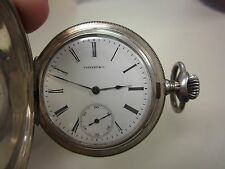 ANTIQUE TIFFANY & CO 935 STERLING SILVER PORCELAIN DIAL HUNTER CASE POCKET WATCH